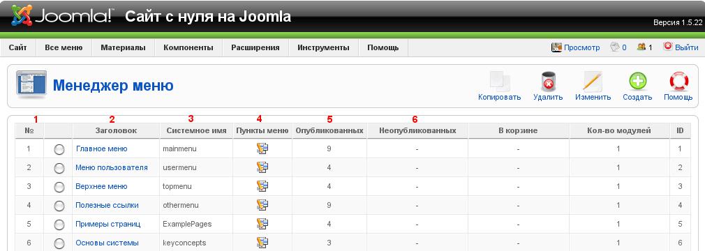 Менеджер меню Joomla - manager menu 2
