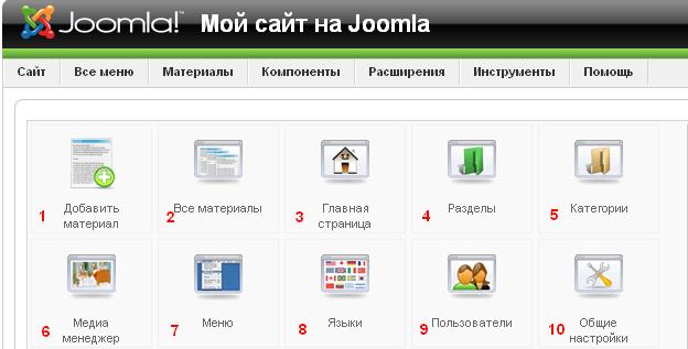 Админка Joomla 1.5 - obzor adminki joomla 2