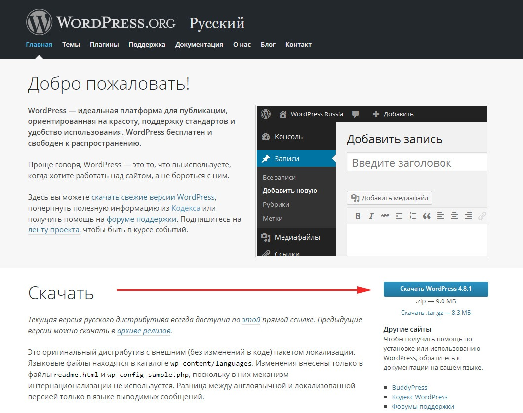 Как установить WordPress на хостинг - инструкция - skachat cms wordpress