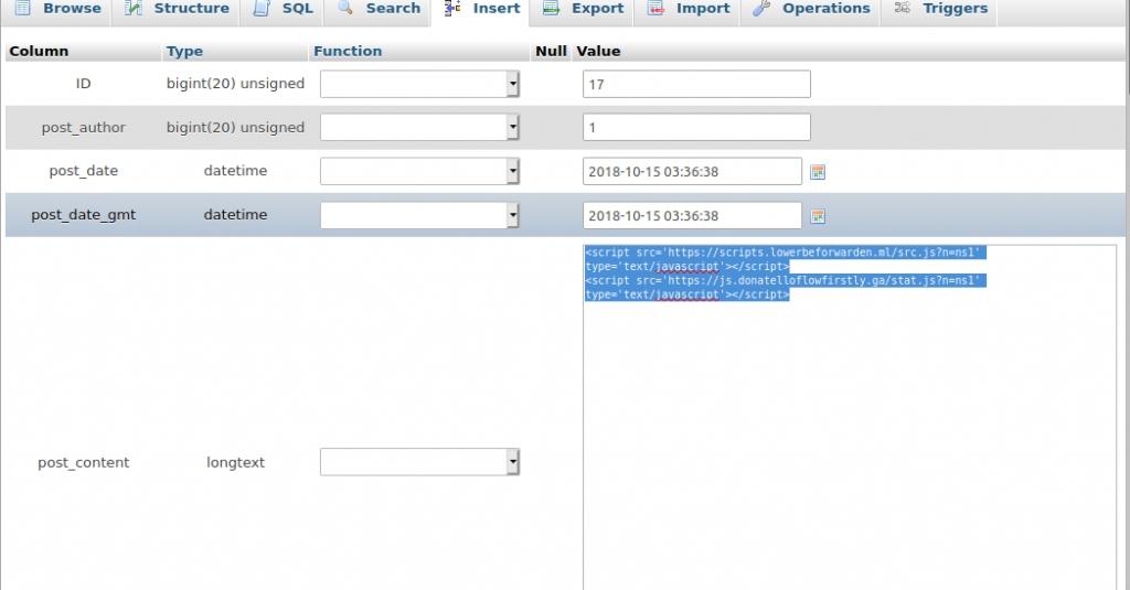 Как удалить вирус редиректа на WordPress сайте - vredonosnyi kod v zapisi wordpress mysql